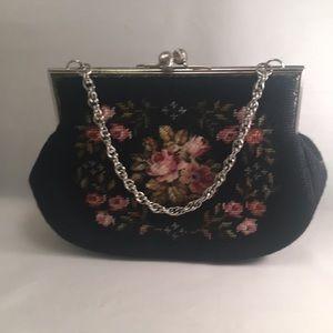 Vintage needlepoint black handbag EUC